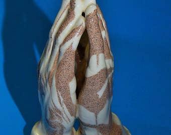 "3 3/4"" Mount St. Helen's Ash Praying Hands Statue Figurine Cougar Ceramics Washington State Signed"