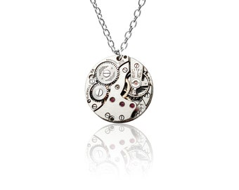 Watch Movement Pendant on Sterling Silver chain - 'Lady Emily' (Medium)