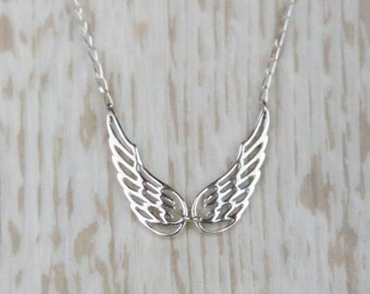 Sterling Silver Angel Wings Necklace, Gift for Her, Gift for Daughter, Gift for Sister