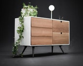 Sideboard, dresser, cupboard, credenza in solid board oak ,media console,media center Mid century,tantik L