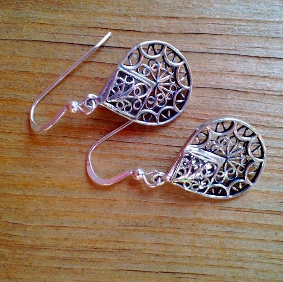 Silver Teardrop Earrings, Sterling Silver Drop, Detailed Filigree Earrings