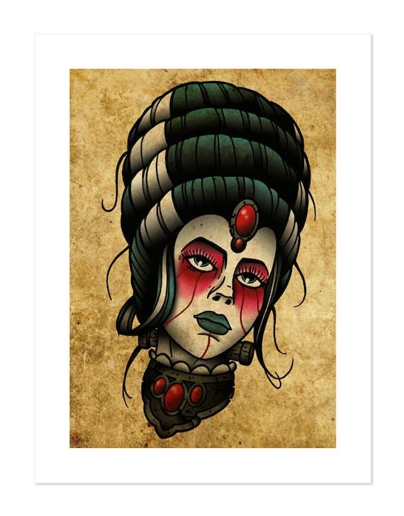 Bride of Frankenstein Neo-Traditional Tattoo Flash Art Print  Bride of Franke...