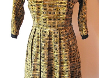 1950s Yellow and Black Print Dress