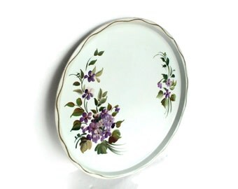 SALE Metal Tray, Round Handpainted w Violets Vining, Nashco Products