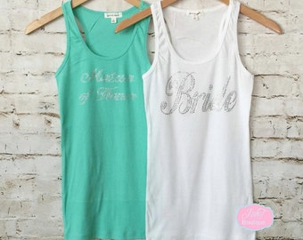 Bachelorette Party. Bride. Bridesmaid . Wedding Bridal Party. He Put A Ring On It. Bride Tank Top. Bride Shirt. Bride to be Tank Top.