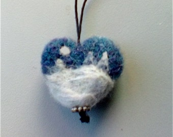 Miniature Needle Felted Heart Shaped Ornament with Snow Design