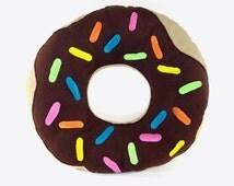 "Giant Donut Pillow, 26"" Chocolate Donut Pillow, Chocolate Donut, Stuffed Donut Pillow, Donut, Sprinkles, Donut Pillow, Doughnut, Food Pillow"