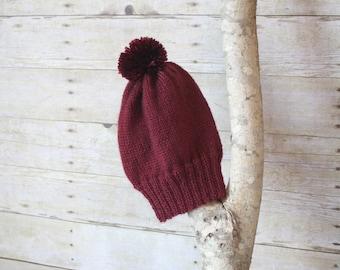 SUMMER SALE - The Ashland Knitted Beanie - Burgundy