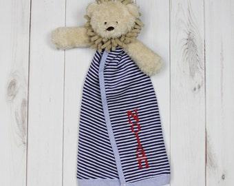 Monogrammed Plush Animal Cuddler, Woobie, Lovie | Lion, Teddy or Elephant