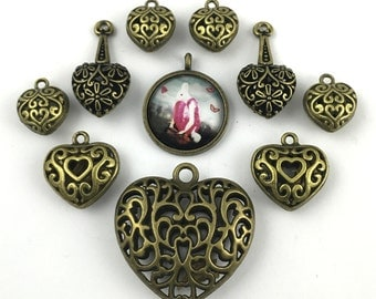 9  love charms collection bronze tone + 1 glass pendant  # ENS B 063