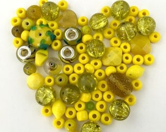 80 glass beads yellow mix,7mm to 14mm  #PV059