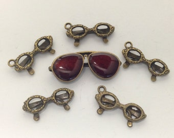 6 glasses charms bronze tone,21mm to 29mm  # CH 080