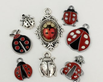 8 lady bug charms and pendant collection antique silver #ENS A 133