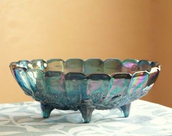 Vintage blue purple iridescent Carnival fruit bowl, Indiana glass with harvest pattern, vintage oval centerpiece with four peg legs