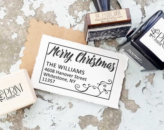 Custom Christmas Stamp, Christmas Return Address Stamp- Custom Merry Christmas Self Inking, Holiday Rubber Stamp, Calligraphy Stamp 10155