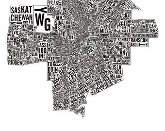 Winnipeg Manitoba Neighborhoods City Map Poster - Winnipeg Art