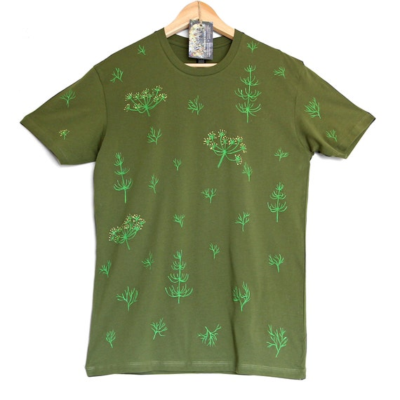 DILLS and HORSETAILS.  Green hand painted cotton t shirt. Herbs and greens t shirt. Gardening t shirts