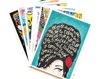 6 Music Postcards, Pop Song Illustrations, Pop Music Typography Song Lyrics Art, Fun Stationery, Creative Gift, Music Gift, Postcard Pack