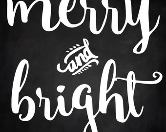 Merry and Bright Christmas Winter  Wood Sign 12 x 12 Stencil #209