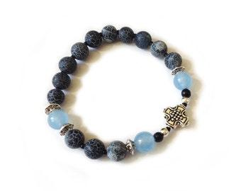Black Frost Agate Onyx & Brazilian Aquamarine rosary bracelet