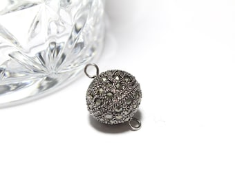 Sterling Silver and Marcasite Round Screw Cap Lock 15mm 1 pc