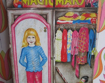 Vintage Magic Mary Magnetic Dress Up Doll Set 15 Pcs Teenage Dolls Dresses Trousers Jackets Coats Nightwear Skates Cat Paper Cardboard 80's