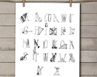 Music Nursery Art - Alphabet Nursery Art