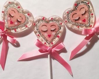 3 Strawberry Cream Sassy Valentine Lollipops