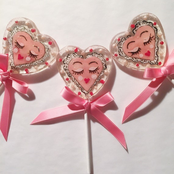 3 Strawberry Cream Sassy Valentine Celebration Favors Lollipops