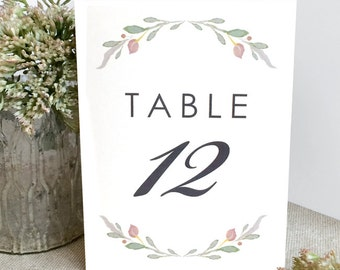 Floral Wedding Table Numbers - Printed 4x6 Table Numbers - Rustic Table Number - Simple Wedding Table Numbers - Table Numbers - Floral