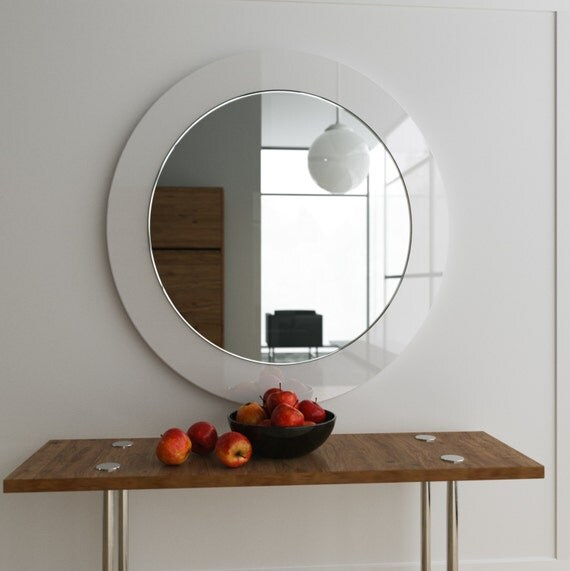 Miroir moderne blanc suspendu blanc miroir mural for Miroir moderne decoration
