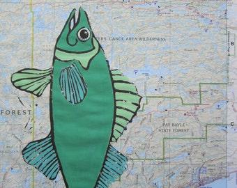 Walleye Fish Print. Minnesota Map, Walleye Fish print on Minnesota Map