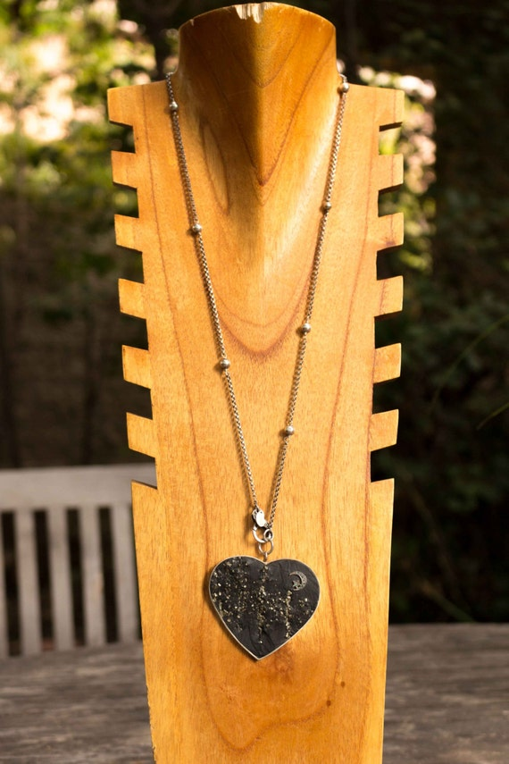 Sterling Silver Pyrite Heart with Diamond Necklace