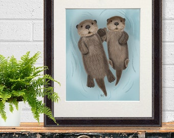 Otters in love - Otter Print Otters holding hands engagement gift first anniversary gift paper anniversary gift for boyfriend husband wife