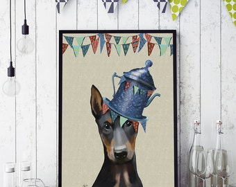 Doberman Art Print - Milliners Dog -  Doberman lover gift doberman painting Doberman decor dog lover gift girlfriend Doberman gift wall art