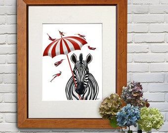 Safari Print - Zebra Art Umbrella Forwards - kids wall art kid bedroom kid décor gift for girls funny zebra print safari nursery New home