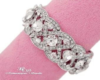 Bridal Wedding Bracelet Cuff  Jewelry - Crystal Bracelet Cuff -Rhinestone bracelet cuff -Vintage Victorian Art Deco Bracelet- Gatsby - B0103