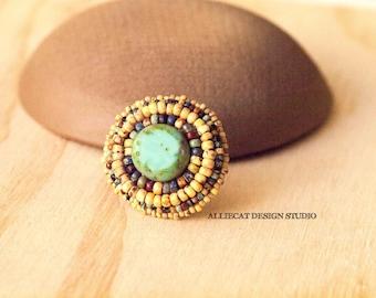 Bohemian Ring, Boho Ring, Tribal Rustic Yellow Ring (Adjustable)