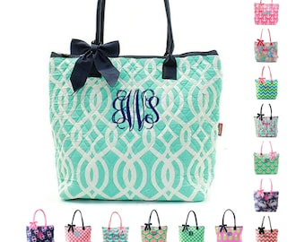 Monogrammed Quilted Tote Bag Handbag Purse Diaper Beach Personalized Monogram Name Embroidered Chevron Owl Anchor Whale Turtle Ivy Moroccan