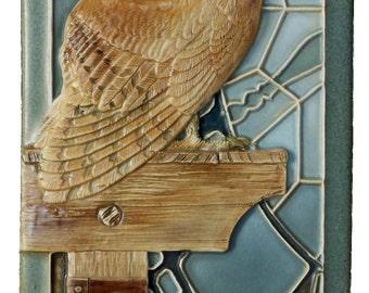 Art tile, Ceramic tile, sculpted tile, animal art, owl, Barn Owl 4x 8 inches
