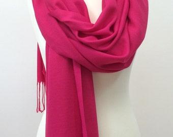 Dark Pink Pashmina, Cotton Tassel Scarf, Fuchsia Pashmina Shawl, Oversize Wrap Scarf, Women's Foulard, Women's Gift, Designscope