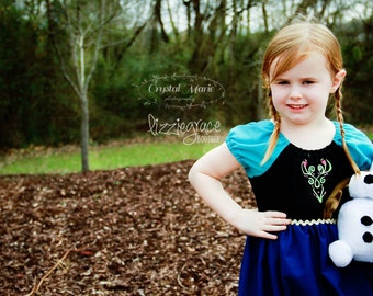 Anna Dress - Embroidered Anna Dress - Princess Inspired Dress- Anna Costume - Frozen Anna - Princess Anna - Frozen Costume - Frozen Dress