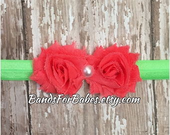SALE Neon Pink & Green Petite Shabby Chic Flower Headband, Pink and Green Flower Accessory, Baby Headband, Infant Headband, Toddler Hair Bow