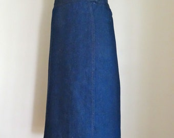 70's Wrap Skirt Denim Indigo Pencil Skirt