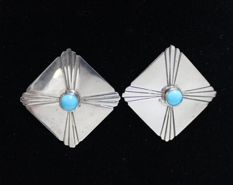 Square Native American Sterling Silver Earrings Signed M. Lee