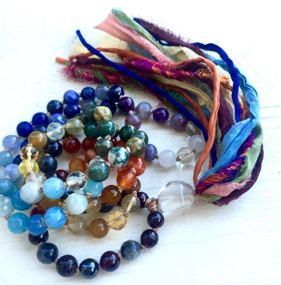 Chakra Mala Beads Silk Sari Tassel 7 Chakra 108 Beads Therapeutic Mala Beads Aura Cleanser Yoga Jewelry Healing Prayer Meditation Beads