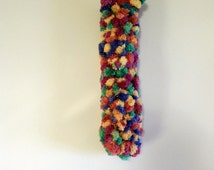 Kicker Cat Toys Poofy Rainbow Yarn Large Size, Optional Catnip Jingle Bell