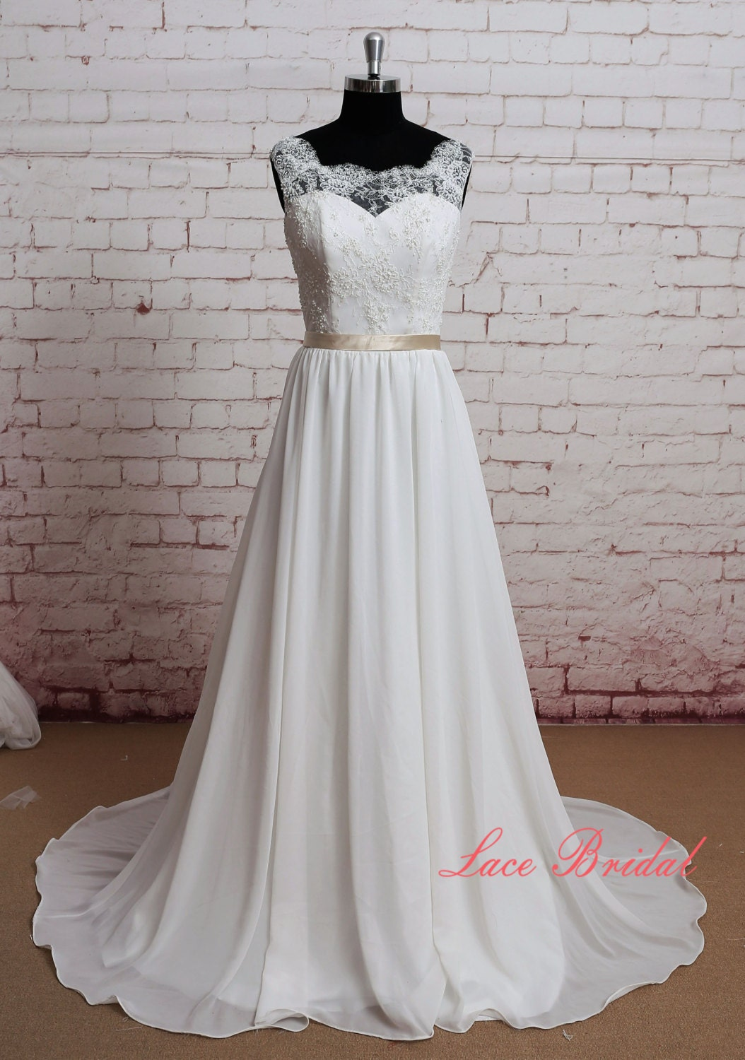 Gorgeous Lace Wedding Dress Sheer Lace Neckline Bridal Gown