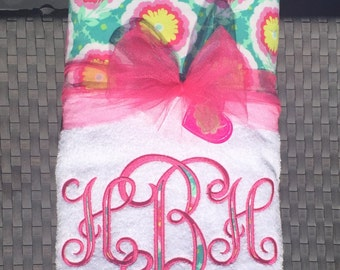 Fun with Florals!!! Bright and Bold Embroidered Beach Towel or Lounge Chair Towel
