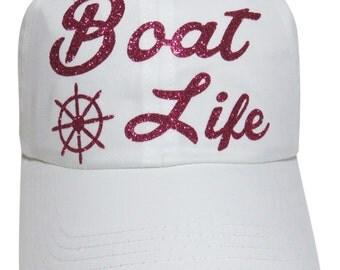 "NEW! Fuchsia Glitter ""Boat Life"" and Wheel White Cotton Baseball Cap"